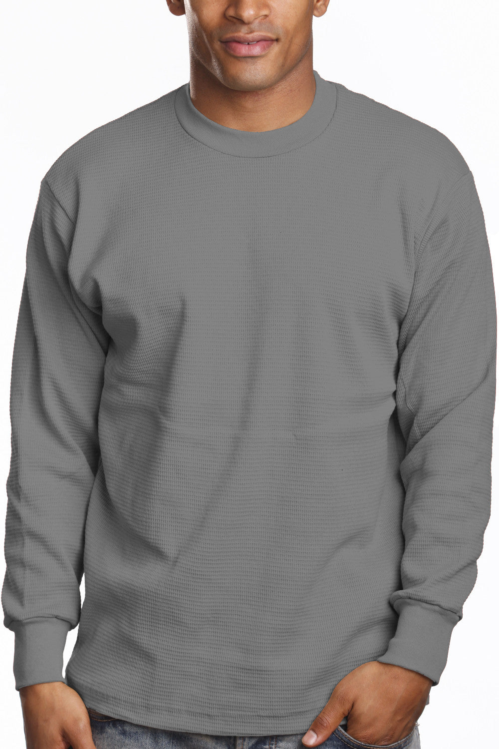 Mens Long Sleeve Thermal Knit Top Shirt Heather Grey