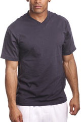 Mens Casual V-Neck T-Shirt Dark Grey