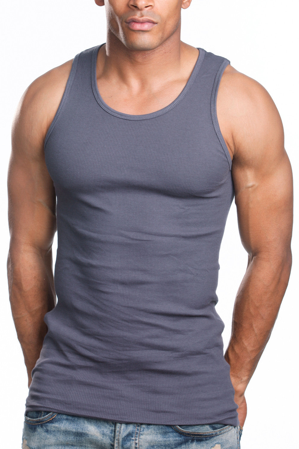Itzu Ribbed Vest Slim Fit Mens Athletic Muscle Gym Rib Tank Top 100/% Cotton 3//6 Pack Black//White