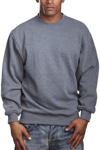 Mens Fleece Crew Neck Sweater Long Sleeve Dark Grey 2XL 3XL 4XL 5XL