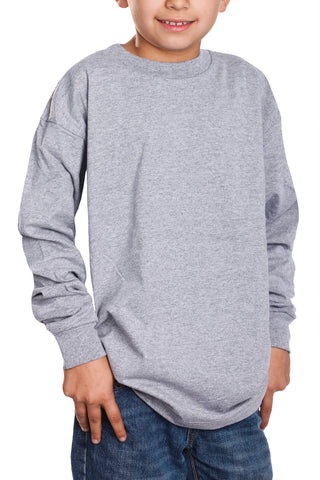Kids Long Sleeve T-Shirt Tops Heather Grey