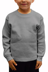 Kids Thermal Knit Tops Long Sleeve Heather Grey