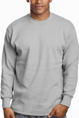Mens Long Sleeve Super Heavy Shirt Tall Size Heather Grey