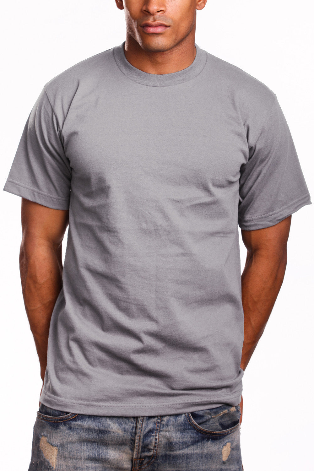 Mens Super Heavy T-Shirt Tee Shirts Tall Size Heather Grey