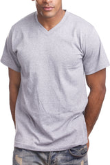 Mens Casual V-Neck T-Shirt Heather Grey