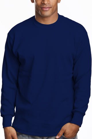 Mens Long Sleeve Thermal Knit Top Shirt 2XL 3XL 4XL 5XL Navy