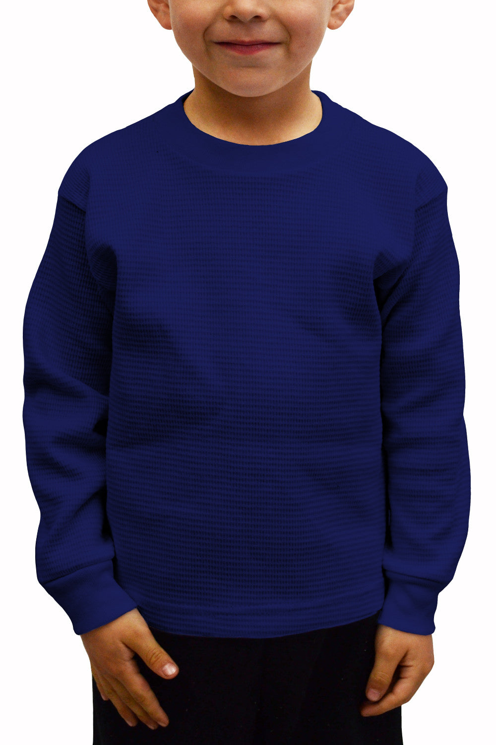 Kids Thermal Knit Tops Long Sleeve Navy