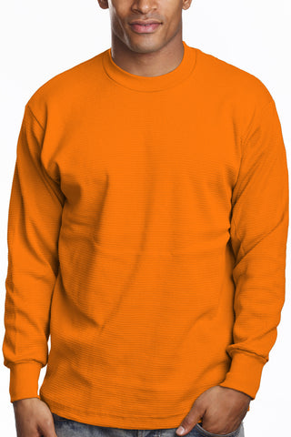 Mens Long Sleeve Thermal Knit Top Shirt Orange
