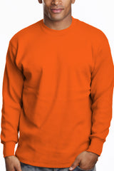 Mens Long Sleeve Super Heavy Shirt Tall Size Orange