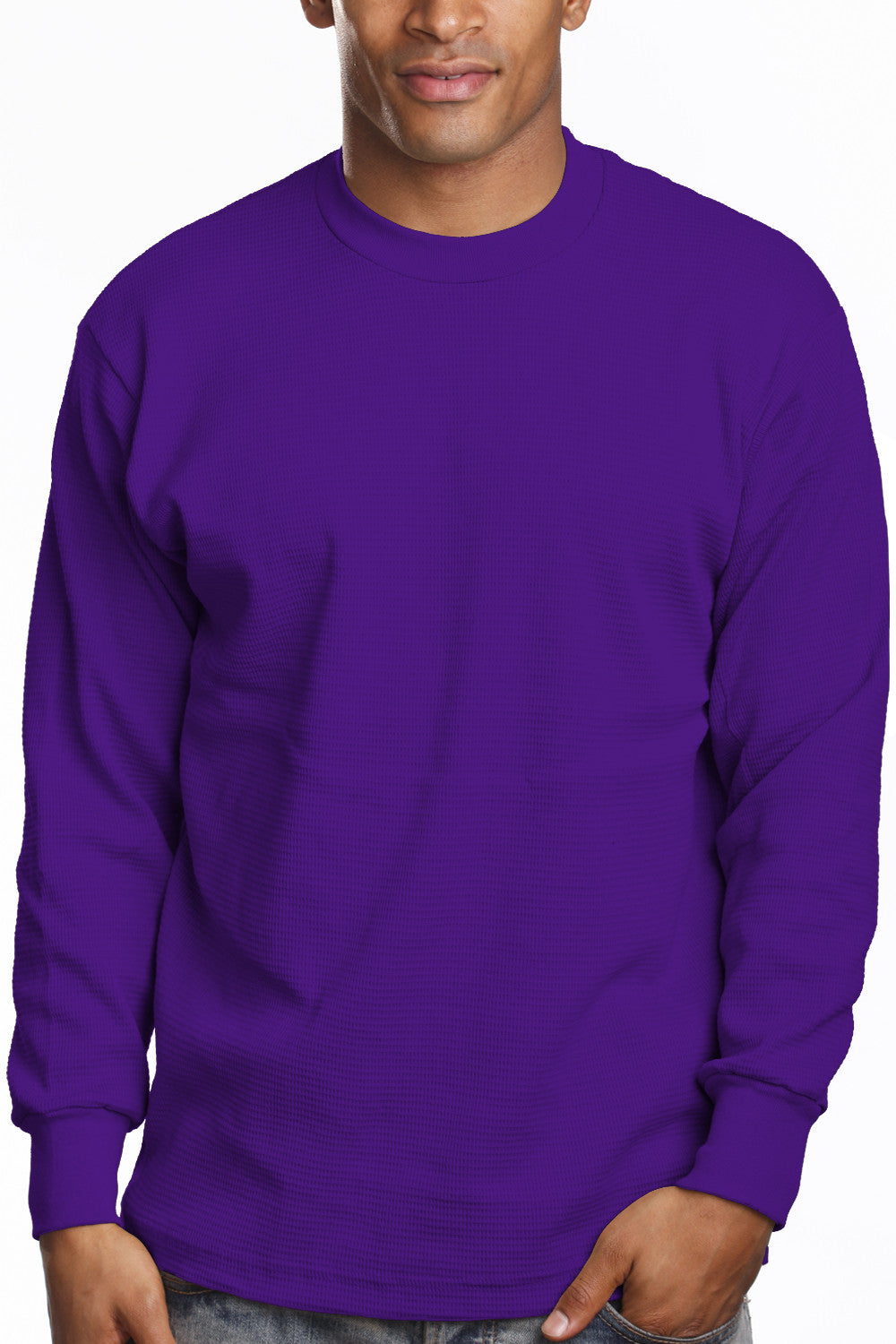 Mens Long Sleeve Thermal Knit Top Shirt Purple