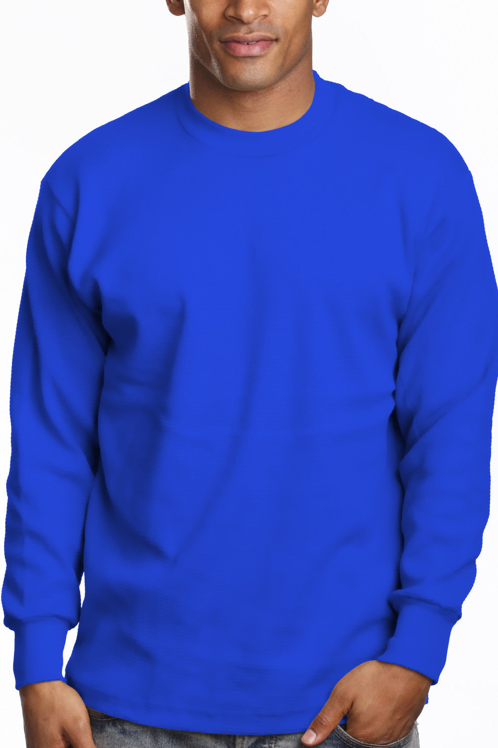 Mens Long Sleeve Super Heavy Shirt Tall Size Royal Blue