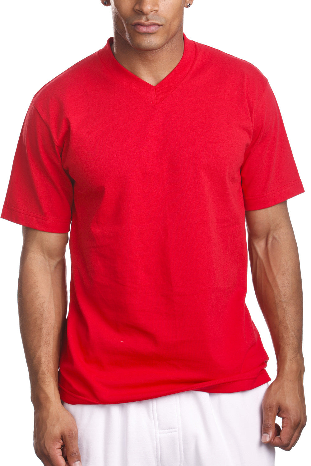Mens Casual V-Neck T-Shirt Red