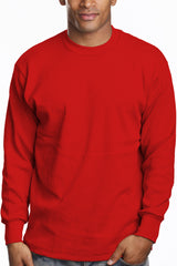 Mens Long Sleeve Thermal Knit Top Shirt Red