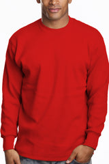 Mens Long Sleeve Super Heavy Shirt Tall Size Red