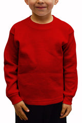 Kids Thermal Knit Tops Long Sleeve Red