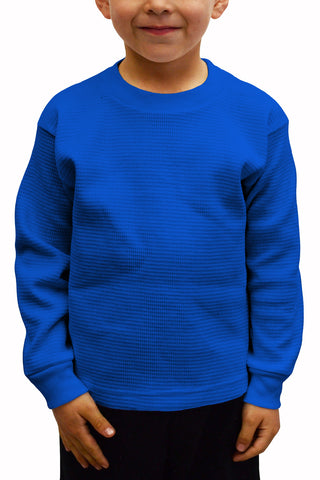 Kids Thermal Knit Tops Long Sleeve Royal Blue