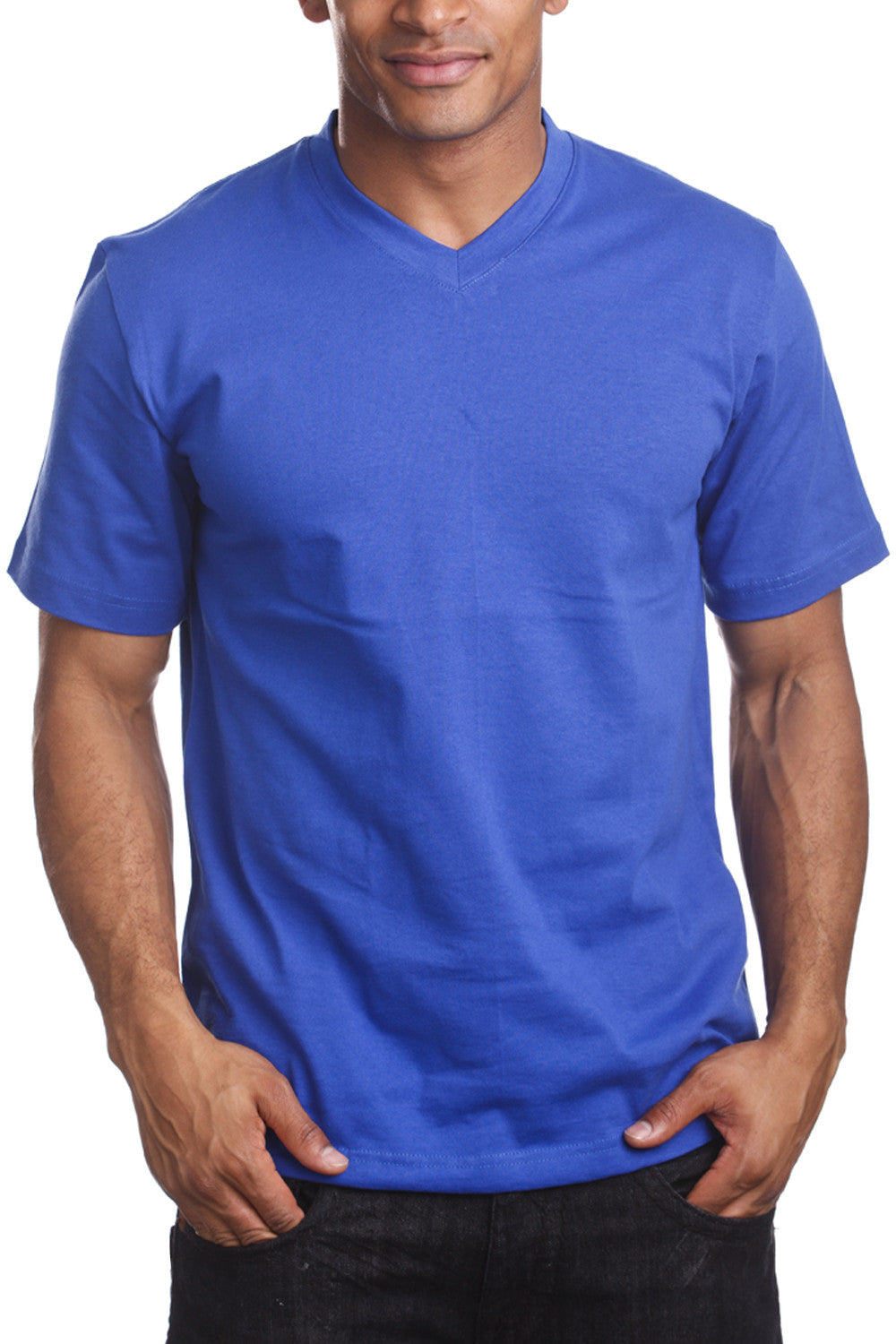Mens Casual V-Neck T-Shirt Royal Blue