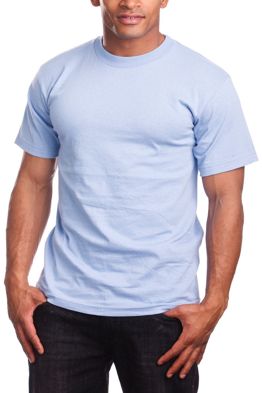 Mens Super Heavy T-Shirt Tee Shirts Tall Size Sky Blue