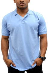 Classic Polo Shirt Men Shirts Sky Blue
