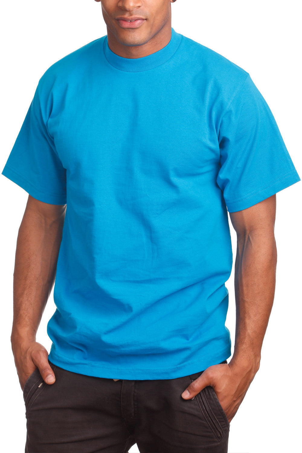 Mens Super Heavy T-Shirt Tee Shirts Tall Size Turquoise