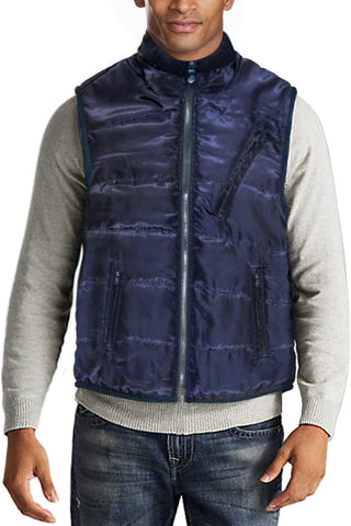 Puffer Vest Water Repellent Fleece Outerwear Navy