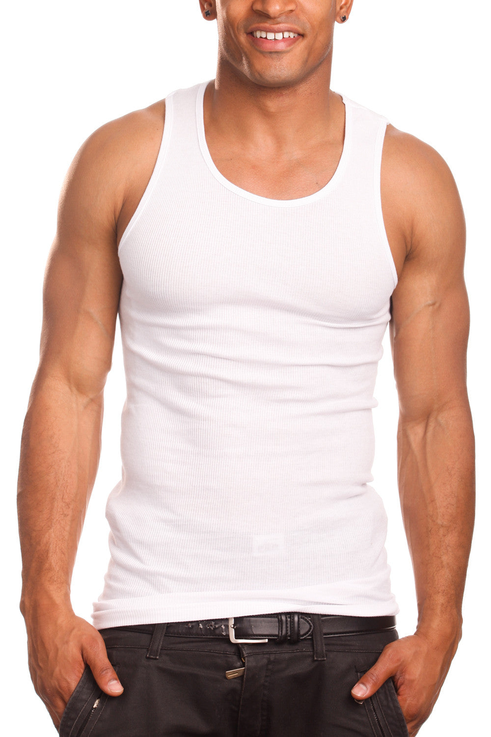 3 Mens Undershirt Ribbed Tank Top Muscle Wife Beater Cotton Sleeveless 5XL /& 6XL
