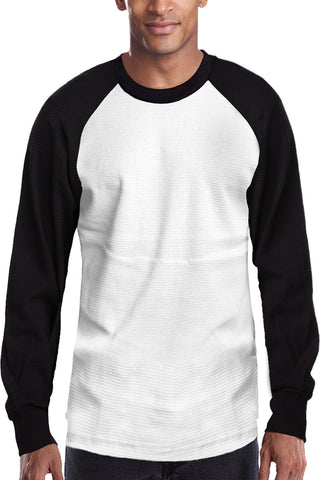Raglan Sleeve Thermal Shirt Black