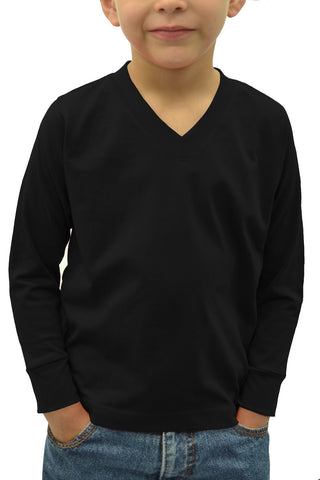 Kids V-Neck Long Sleeve Shirt Black