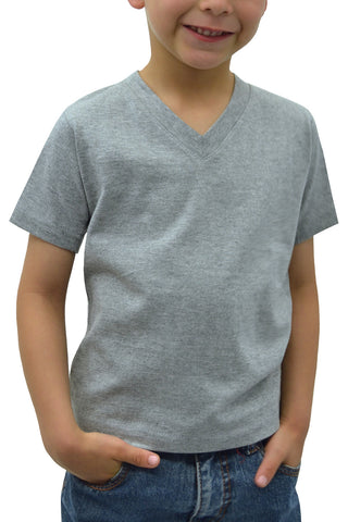 Kids V-Neck Short Sleeve T-Shirt Heather Grey