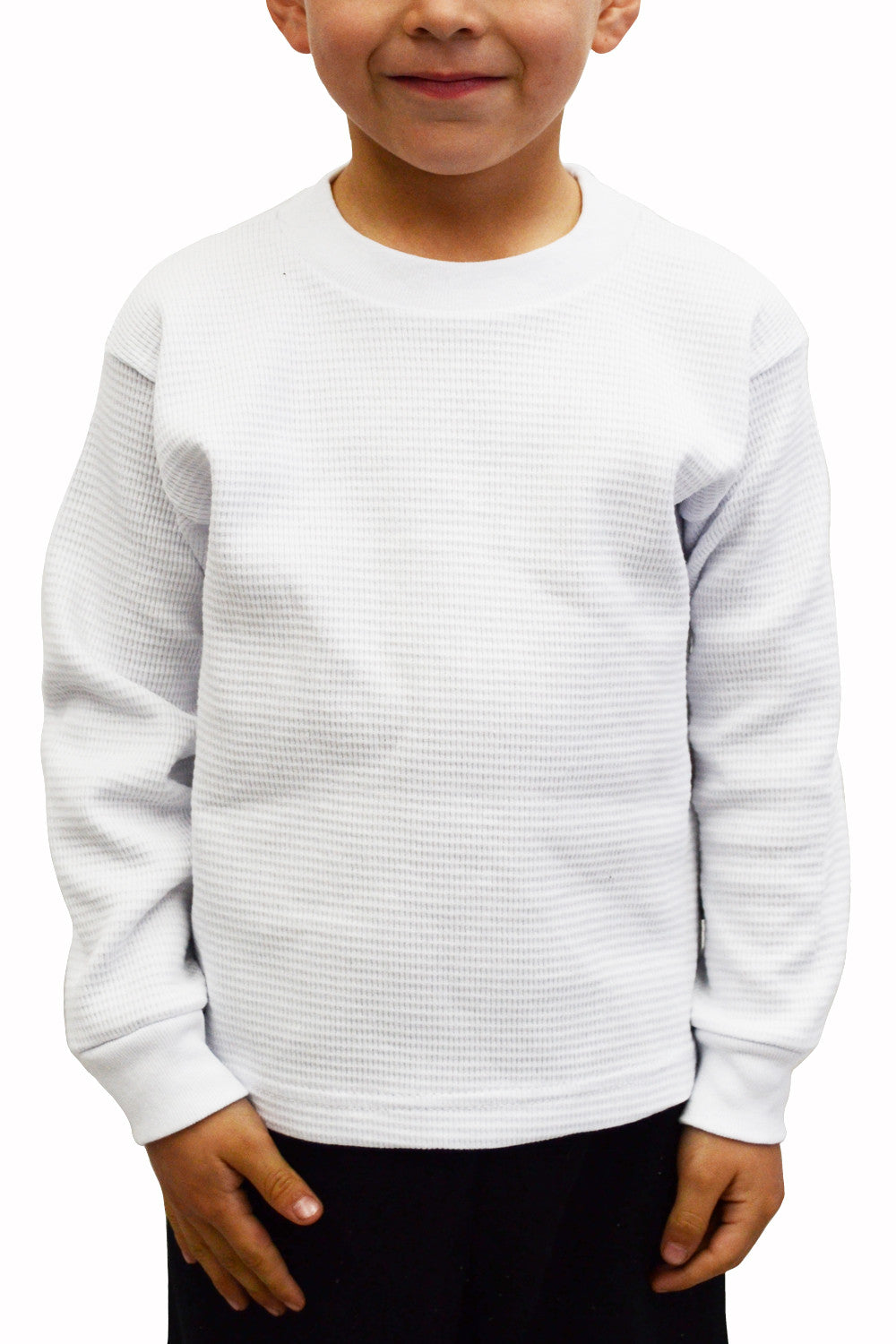 Kids Thermal Knit Tops Long Sleeve White