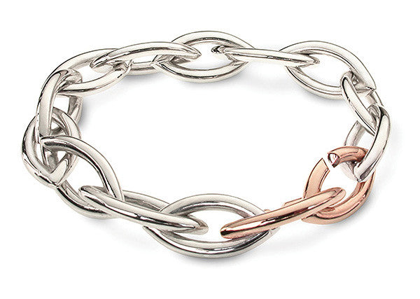Accent Heavy Link Bracelet With 9ct Rose Gold