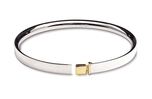 Accent Belt Bangle With 9ct Yellow Gold