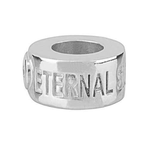 Shapes & Spacers - Eternal Silver Barrel Charm with Diamonte