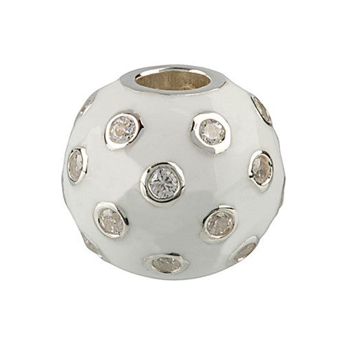 Glitz - White Sparkle Ball Charm