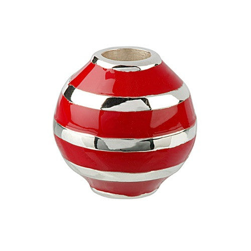 Glitz - Red Stripes Oval Charm