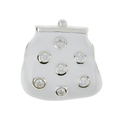 Fashion - White Posh Purse Stone Set Charm