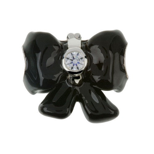 Fashion - Black Bow With Diamonte Charm