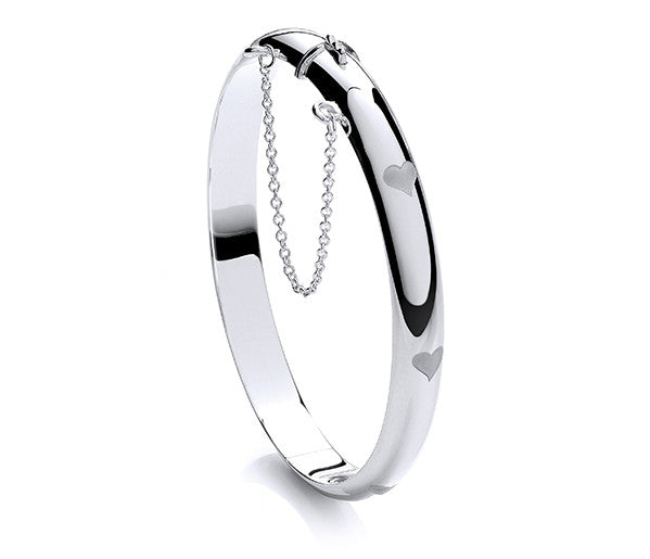 Hinged Oval Bangle with Heart Motifs