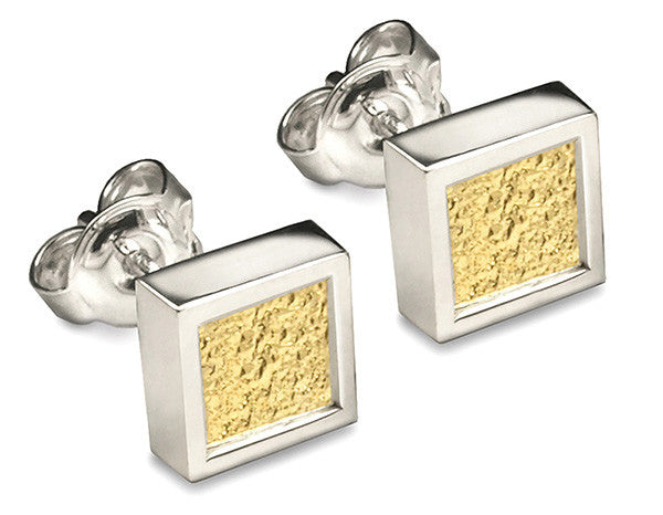 Accent Earrings With 9ct Yellow Gold - Square