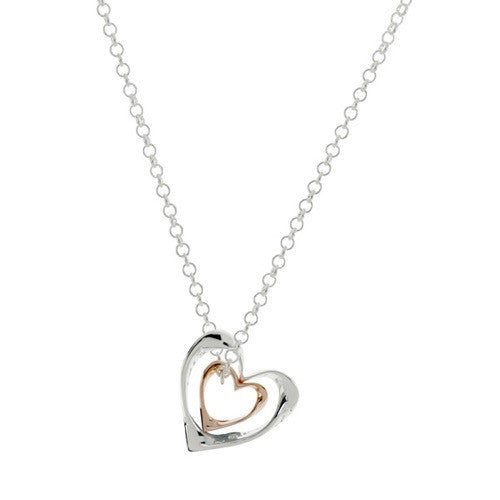 Eternal Double Heart Pendant With 18ct Gold Detail
