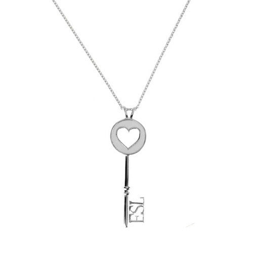 Eternal Enamelled Heart Key Pendant - White