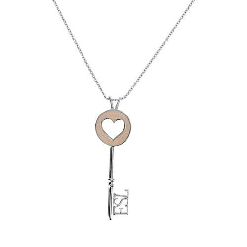 Eternal Enamelled Heart Key Pendant - Pink