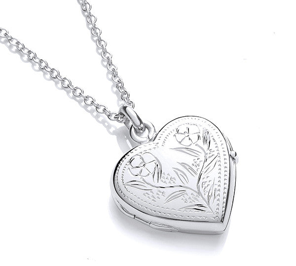 Heart Shaped Floral Design Locket - Hand Engraved