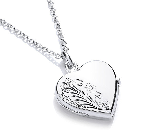 Heart Shaped Wild Flower Locket and Chain - Hand Engraved