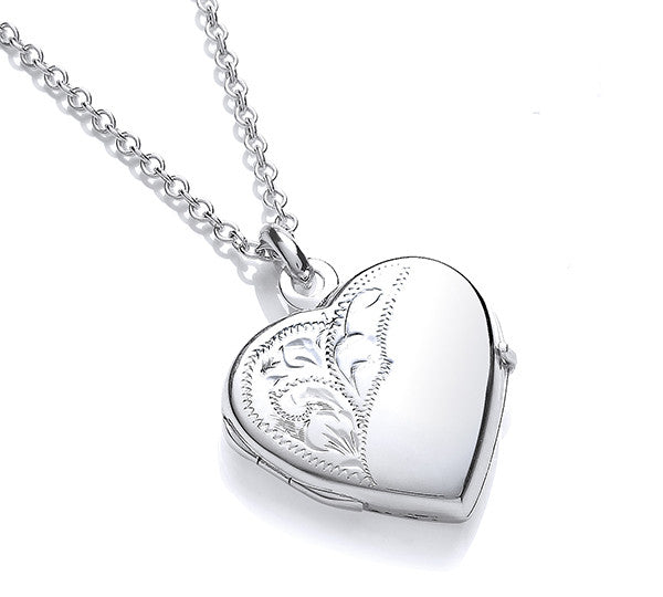 Heart Shaped Paisley Locket and Chain - Hand Engraved