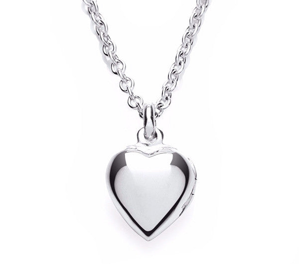 Small Plain Heart Locket and Chain