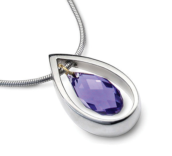 Accent Crystal Droplet Pendant With 9ct Gold Detail - Purple