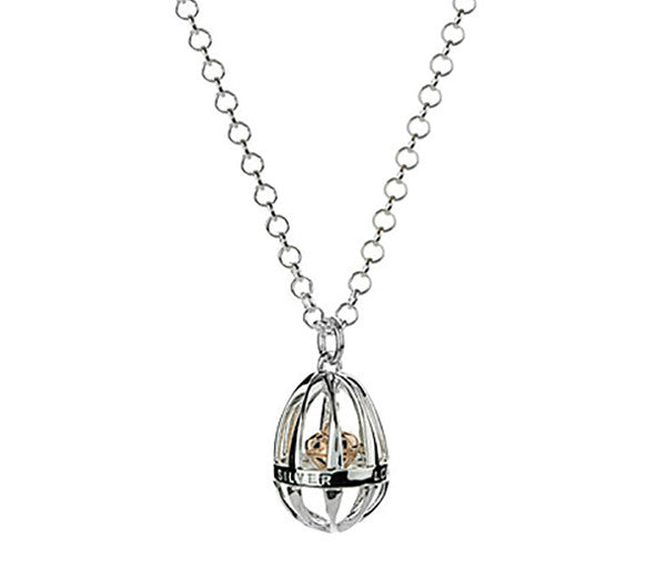 Eternal Cage Pendant With 18ct Gold Heart & Diamond