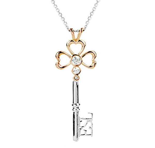 Eternal 18ct Red Gold Hearts & Diamonds Key Pendant