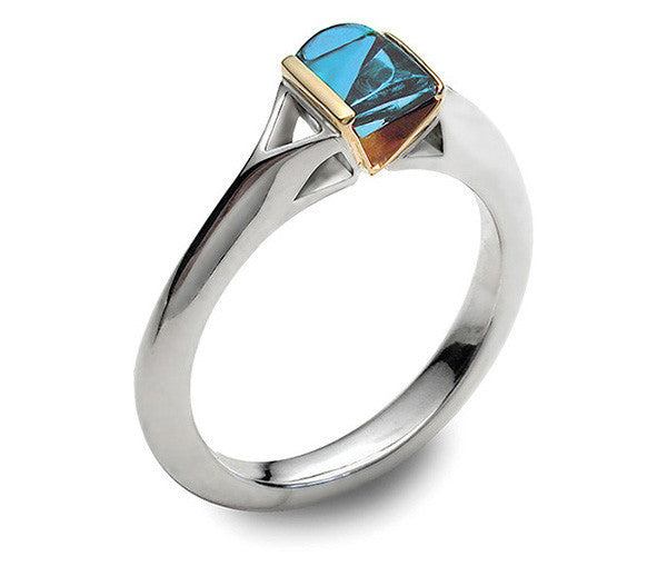 Accent Contour Ring With 9ct Gold - Blue Topaz